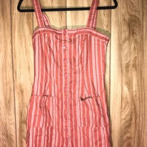 Pink striped button down dress with belt/ pockets